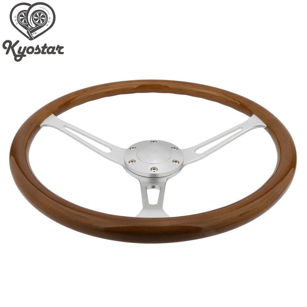 """15 """"380 milímetros De Madeira Clássico volante Cromado Escovado Falou volante-roda Falou Clássico Grão De Madeira Do Vintage"""