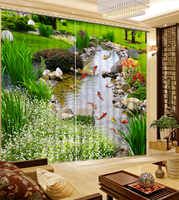 3D Curtain Luxury Blackout Window Curtain Living Room liver curtains green curtains landscape fiah