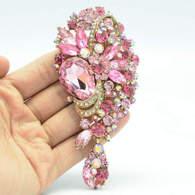 Crystals Rhinestone Flower Brooches Dangle Broach Pins Women Wedding Bridal Jewelry Accessories 6451