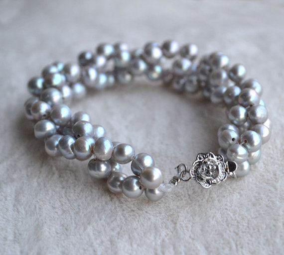 Perfect Pearl Jewellery,7inches 5-6mm Gray Potato Freshwater Pearl Bracelet,Silver Flower Clasp,New Free Shipping