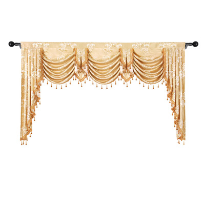European Royal Luxury Valance pelmet Curtains for Living Room Windows Curtains for Bedroom bay Kitchen 1 Piece