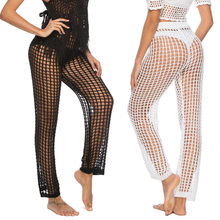 Beach Pants For Womens Summer Fashion Cover Up Pants Sexy Hollow Out Crochet MeshSwimsuits Pants Black White X1(China)