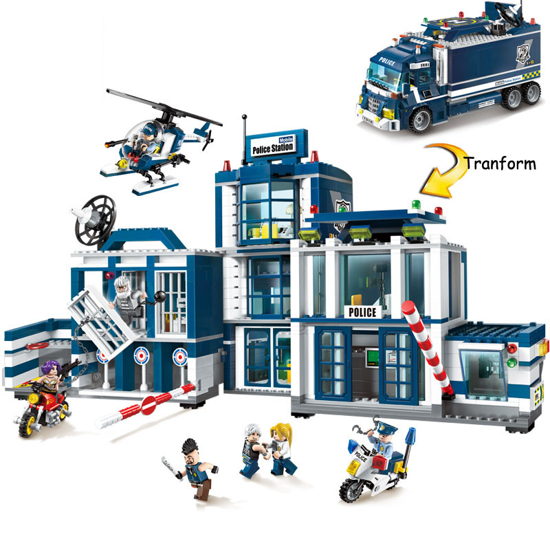 951Pcs 2 in 1 Mobile Police Station City Police Series Legoings Building Blocks Kit Toys Children Birthday Christmas Gifts bohs building blocks city police station coastal guard swat truck motorcycle learning