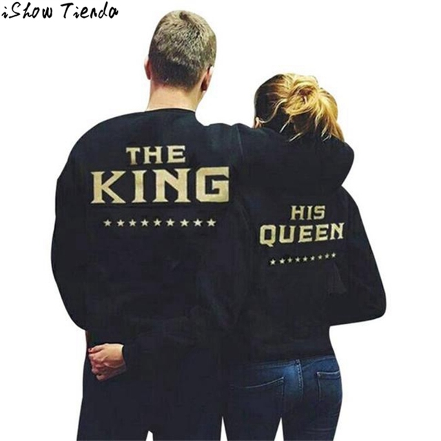 O-Neck Tops Slim Couple Sweatshirts THE KING QUEEN Bronzing Printing Couple T Shirt Ropa #2831
