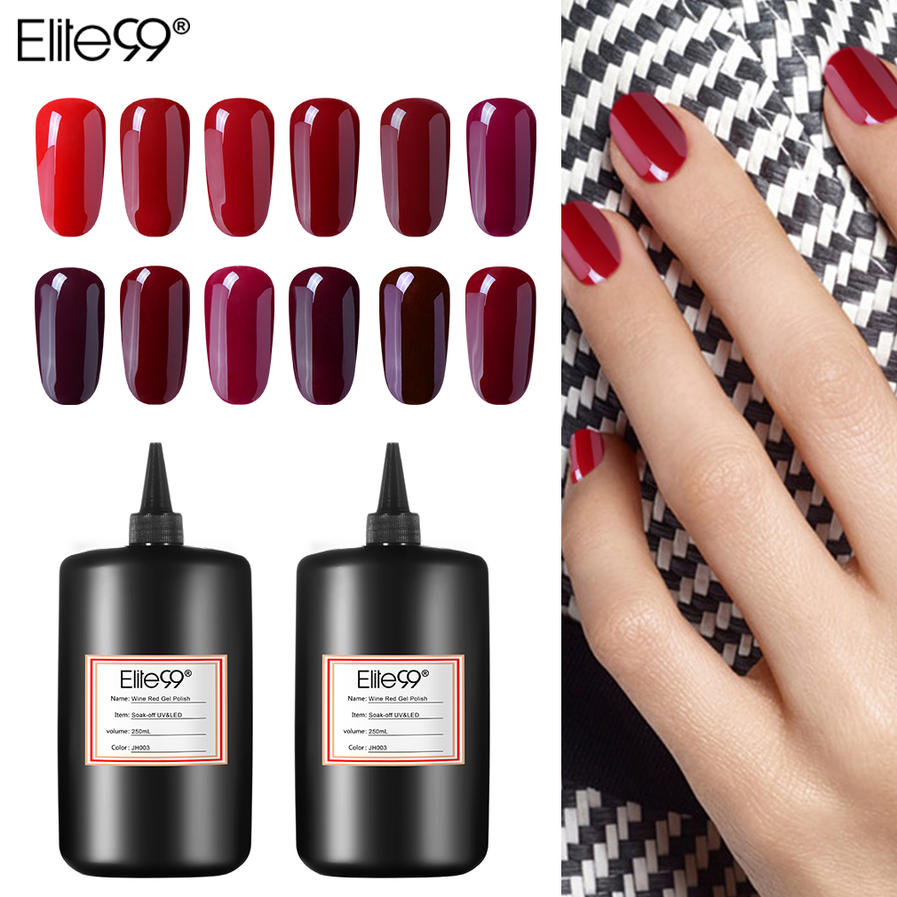 Elite99 Wine Red Gel Nail Polish 250ml Soak Off Hybrid Art Manicure Top Bsae Coat Semi Permanent Lacquer