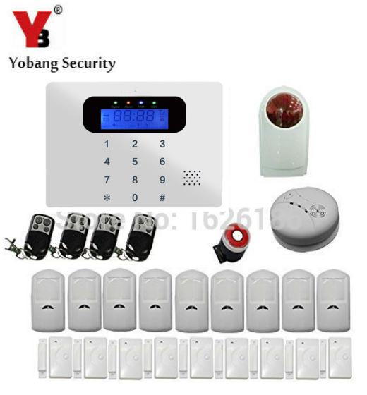YobangSecurity Wireless GSM Home Security Alarm System Kit with Auto Dial Outdoor Siren PIR Motion Door Window Gas Smoke Sensor wireless alarm accessories glass vibration door pir siren smoke gas water sensor for home security wifi gsm sms alarm system