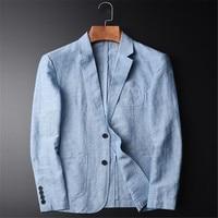 Summer New Casual Blazer Men Fashion Basic Blazer Slim Fit Blue Jacket Brand Blazer Coat Button Suit Men Jacket For Male A3646