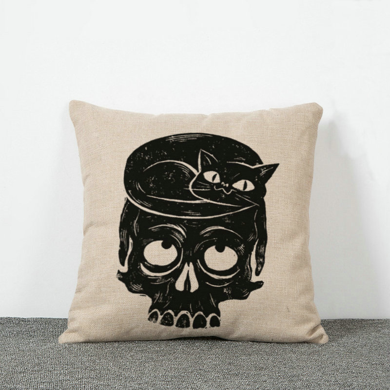 Черепа Чехлы для подушек для Хэллоуина подарки льна Наволочки офис талии на личность без сердечника