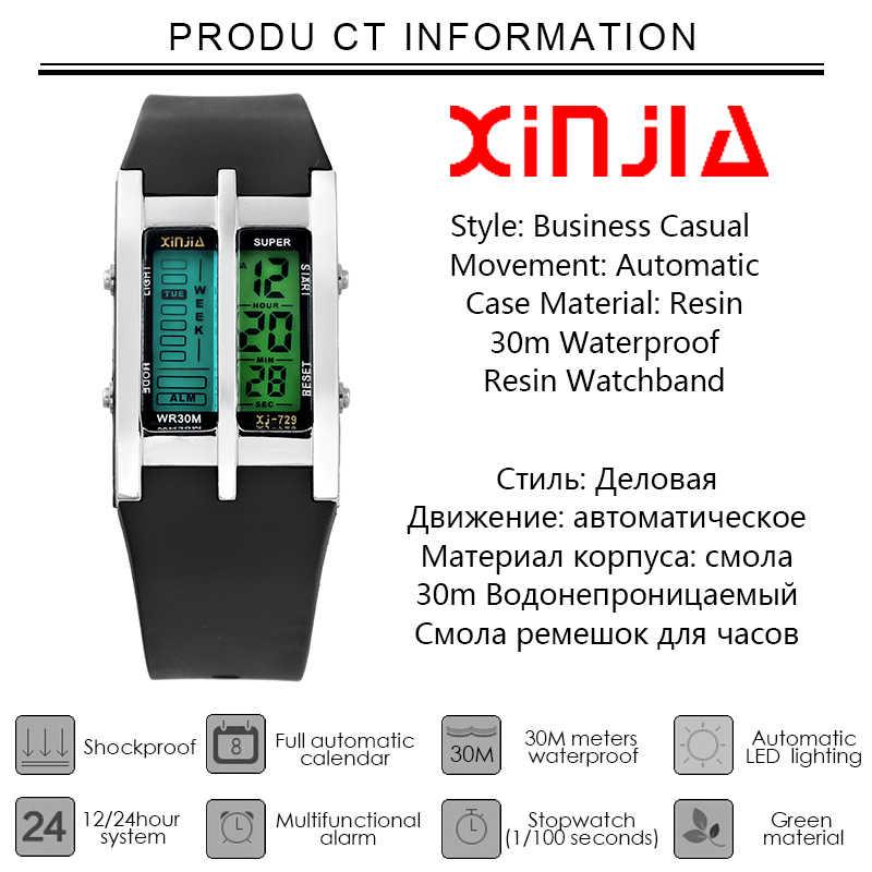 ed08d2dddada ... Relojes para hombre XINJIA Digital de negocios de doble pantalla reloj  de marca de lujo de ...