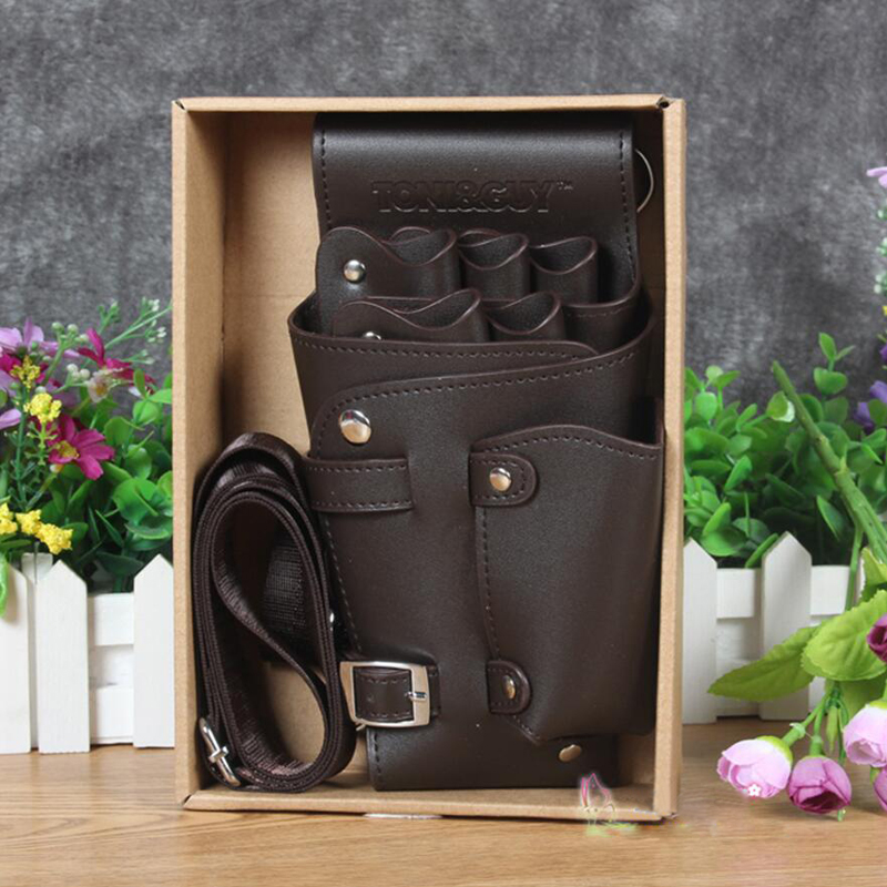 High Quality PU Leather Barber Scissors Bag Salon Hairdressing Holster Pouch Case with Waist Shoulder Belt Brown high quality crocodile skin pu pet hair scissors case hairdressing scissors bag barber salon holster pouch styling tools