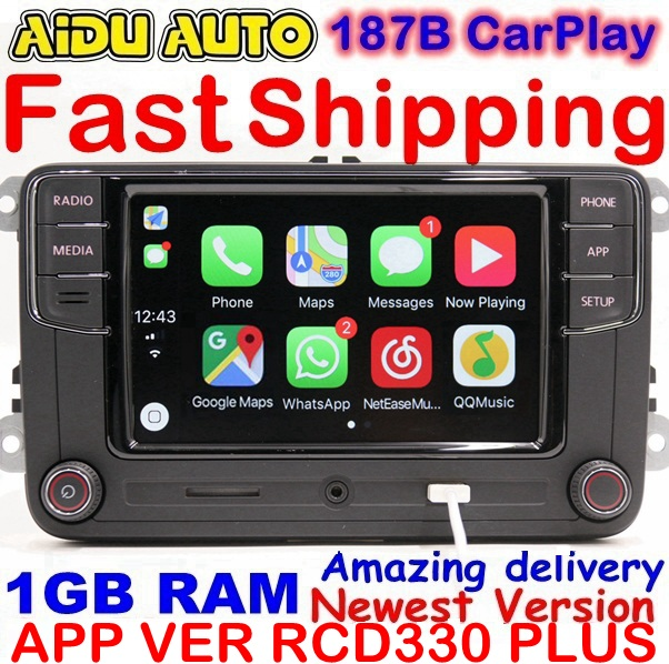 RCD330 Plus RCD330G Carplay MIB MK5 MK6 6 5 Rádio Para VW Golf Jetta Passat CC Tiguan B6 B7 Polo touran 6RD035187B Mirrorlink 1 gb
