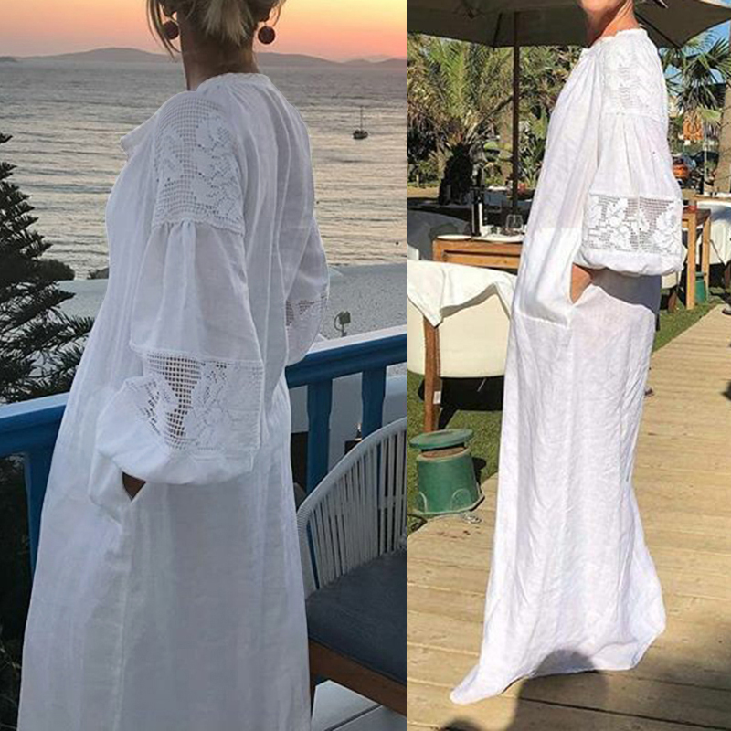 Celmia Women White Dress 2020 Summer Bohemian Casual Loose Lace Maxi Long Sundress Long Sleeve Shirt Party Vestidos Plus Size