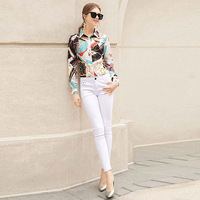 Blouse Runway High Quality Spring New Women Fashion Party Boho Beach Casual Top Vintage Elegant Chic Print Long Sleeve Shirt