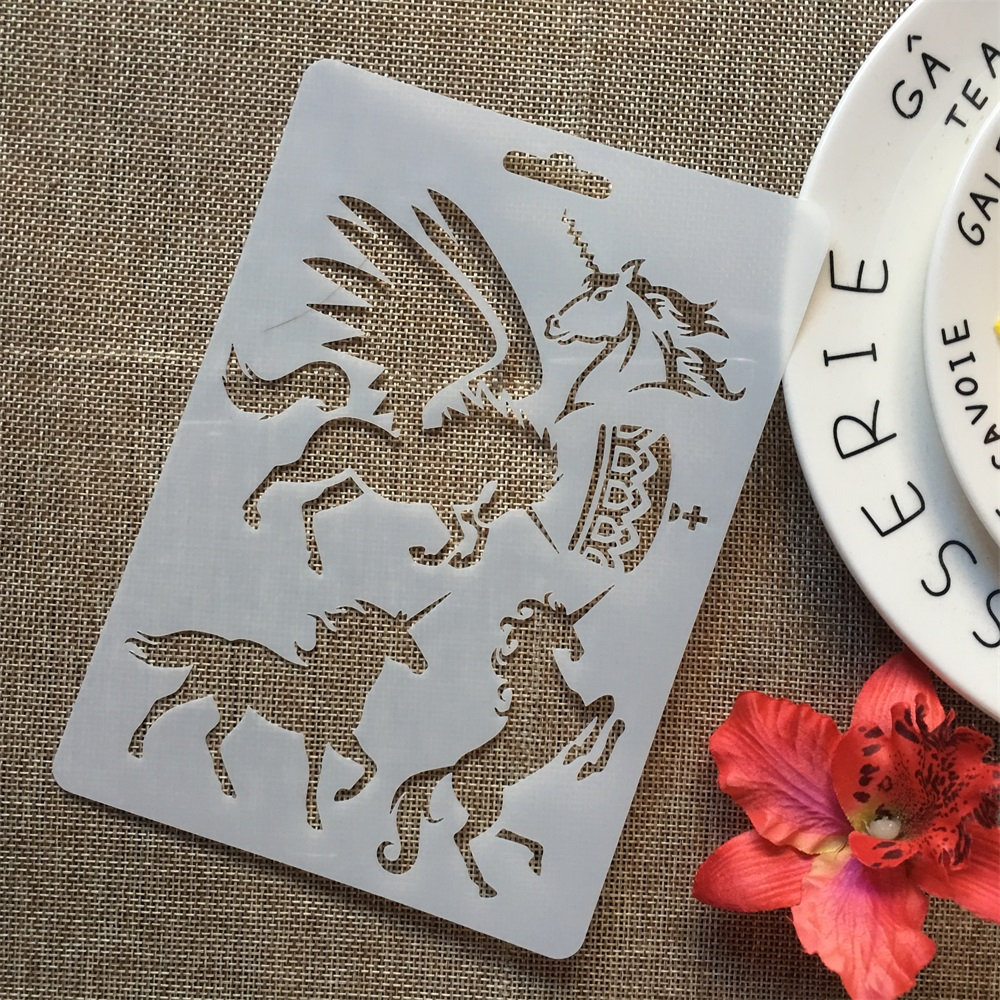 17.8*12.7cm Unicorn Dinosaur 12 Design DIY Layering Stencils Painting Scrapbook Coloring Embossing Album Decorative Template