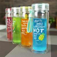 BAP FREE 2017New 300ml Cup Cover Glass Water Bottle Outdoor Travel Bicycle My Sports Water Bottle