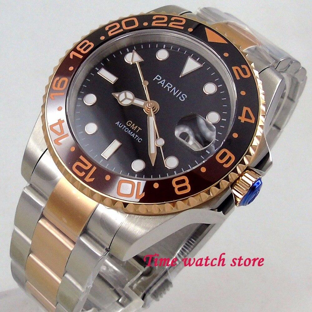 26c586dd2f0 Parnis 40mm relógio mostrador preto luminosa dos homens vidro de safira  cerâmica bezel GMT movimento Automático