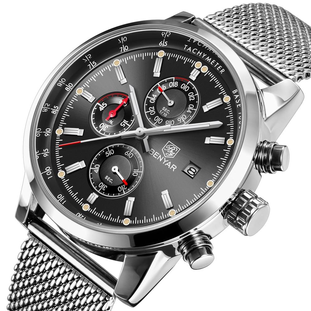 Benyar Men Watch Top Brand Luxury Male Mesh Quartz Chronograph Military Waterproof Wrist Watch Men Sport Clock Relojes Hombre