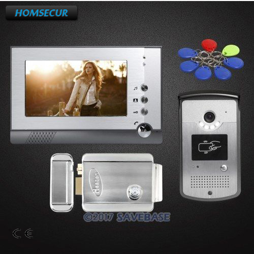 HOMSECUR 7inch Video Door Entry Call System Electric Lock Supported for Home Security + Strike Lock homsecur ship from ru 4 3inch video door intercom system electric lock supported for home security 1v2