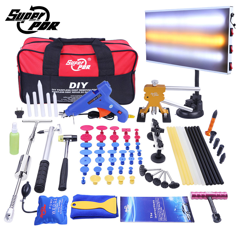PDR Voiture Dent Repair Tool set Dent removal tool kit Glisser marteau En Aluminium lampe conseil Dent Extracteur 68 pcs outils de réparation de carrosserie