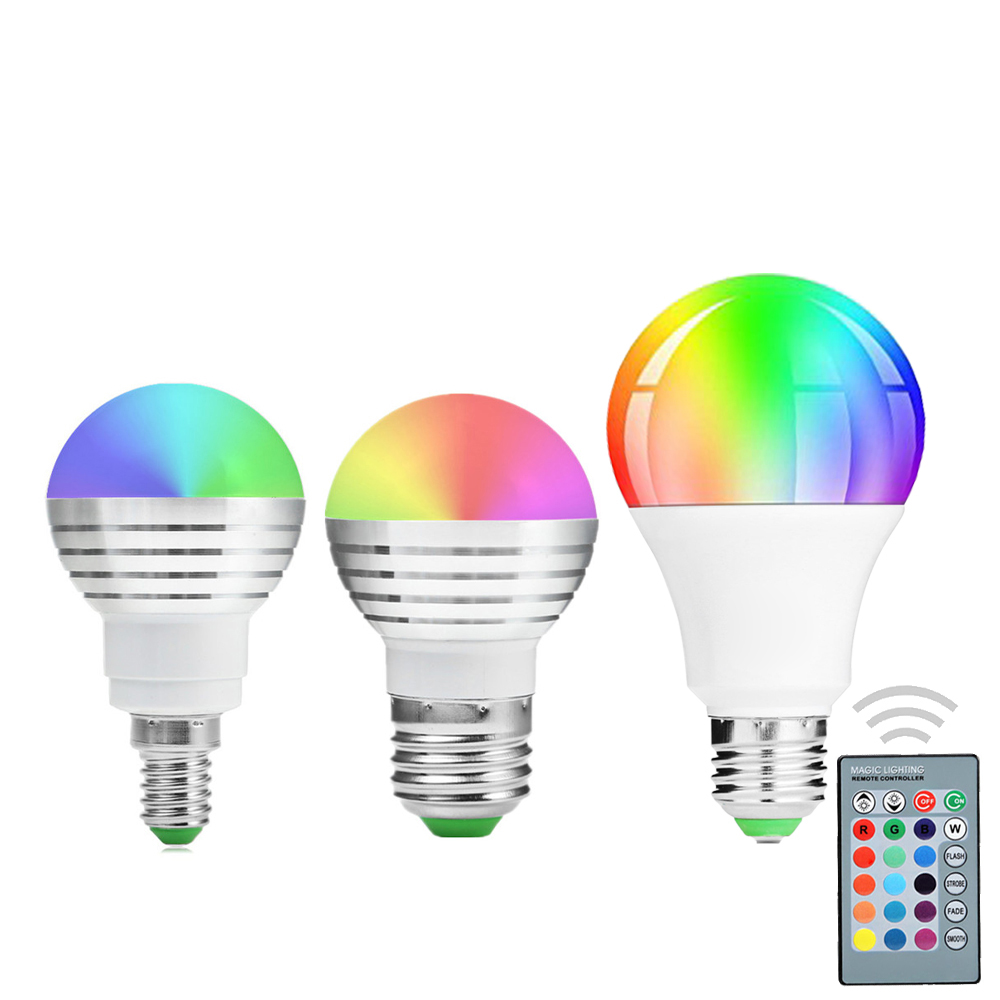 YWXLight E27 E14 RGB LED Bulb 110V 220V 85-265V 16 Color Magic LED Night Light Lamp Dimmable LED Light Spotlight 24key Remote C itimo wireless led bulb with remote control dimmable 220v e27 home indoor lighting night light us plug bedroom light lamp