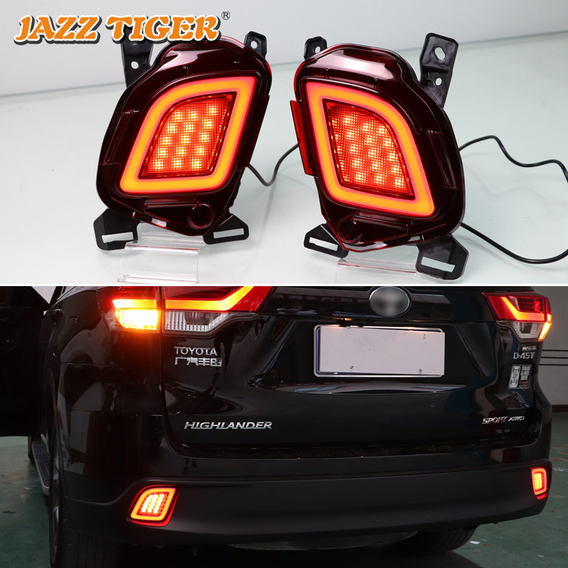 JAZZ TIGER 2PCS Car LED Rear Fog Lamp Brake Light Turn Signal Light Bumper Decoration For
