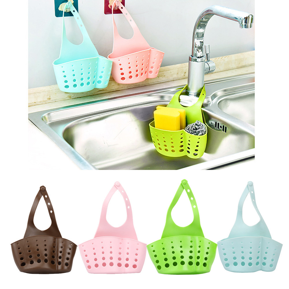 BathroomKitchen Gadgets Portable Basket Drain Hanging Basket Bag Bath Storage Tools Sink Holder Kitchen Accessory Utensils C517
