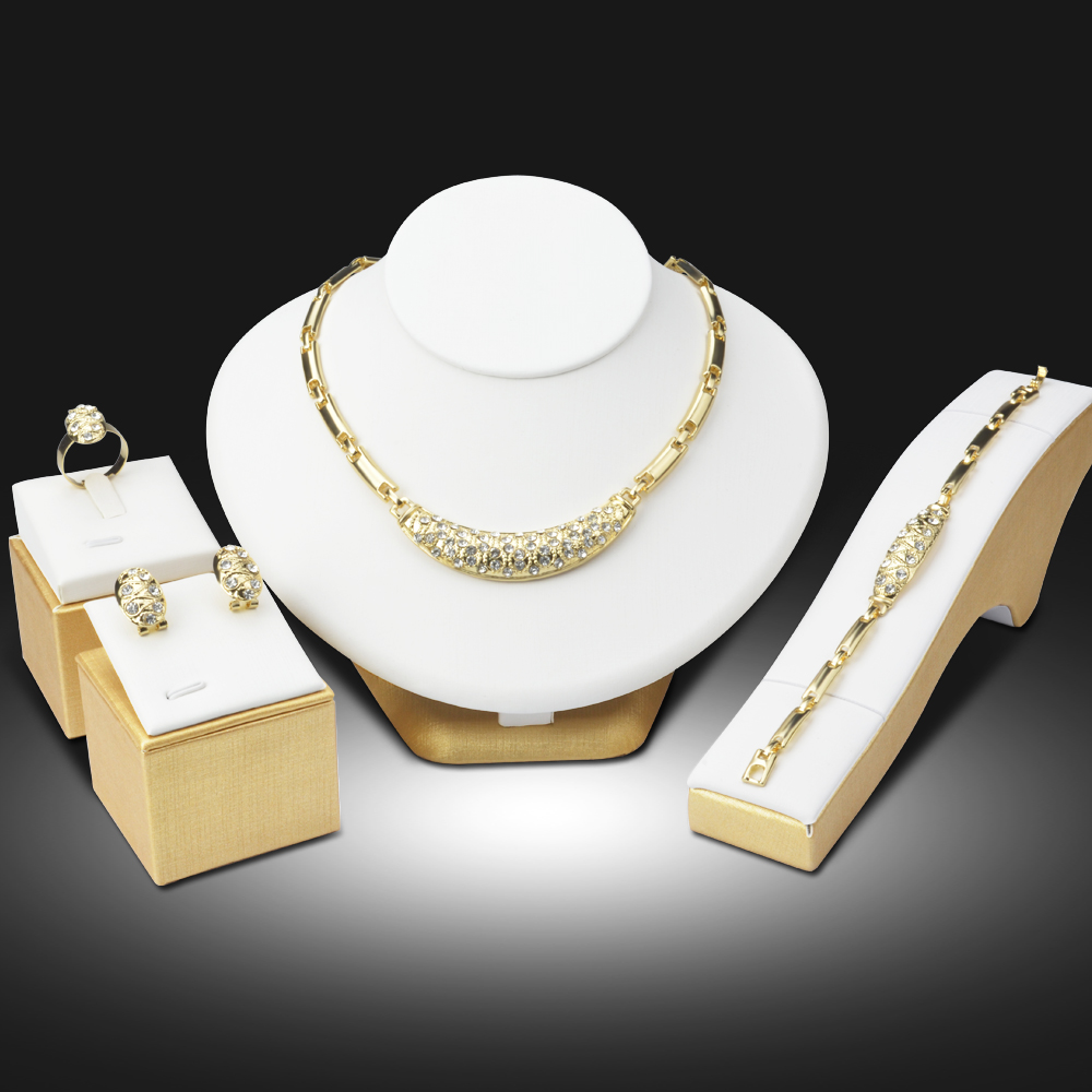 Dubai 18K Gold Plated Jewelry Sets Nigerian Wedding African Beads Crystal Bridal Jewellery Set Rhinestone Ethiopian