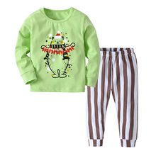 2019 Autumn/Winter Children Pajamas Cotton Kids Sleepwear Suit Print Reindeer Clothes Baby Christmas Pajamas(China)