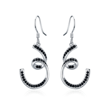 цена на Black Awn Trendy Authentic 100% 925 Sterling Silver Earring Black Spinel Anniversary Drop Earrings for Women Fine Jewelry I136