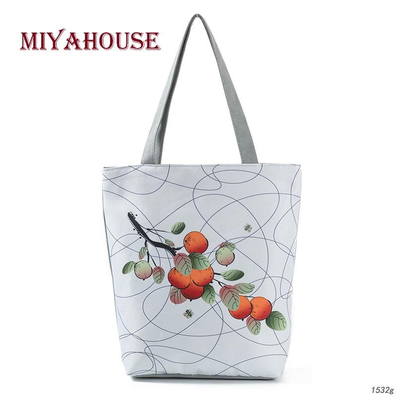 Fruit Print Canvas Tote Handbags Female High Capacity Shoulder Bag For Women Summer Beach Bags