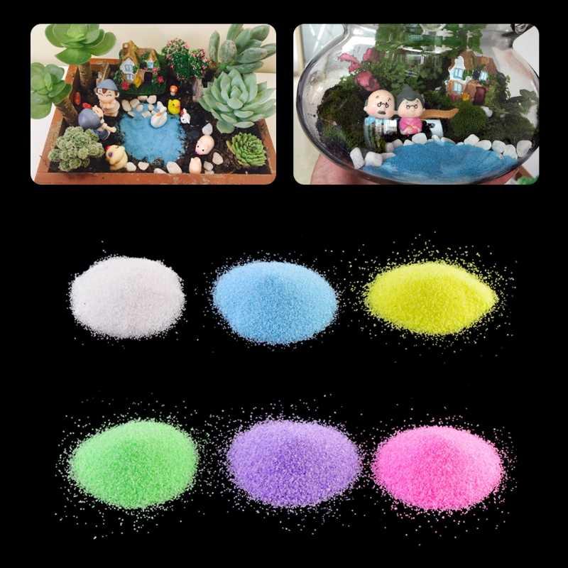 1 حقيبة ملونة الكوارتز الرمال مصغرة خزان حوض السمك أصيص بونساي الجنية حديقة ديكور المشهد الصغير