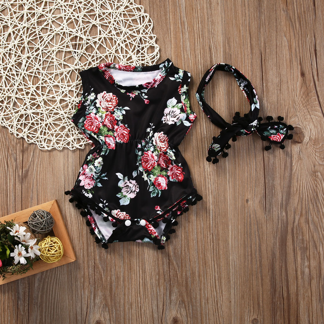 431083b4d Cute Adorable Floral Romper Baby Girls Sleeveless Tassels Romper One pieces  +Headband Sunsuit Outfit Clothes 0 6 Months Black-in Rompers from Mother &  Kids ...
