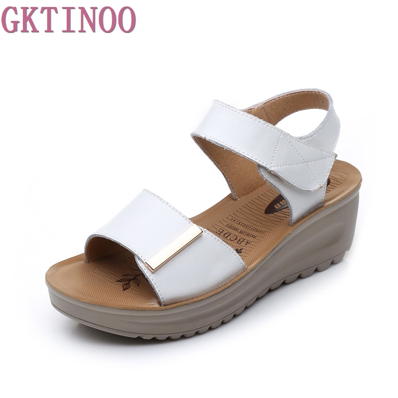 GKTINOO summer sandals female genuine leather women casual comfortable wedges shoes sandals women summer shoes aiyuqi2018 new genuine leather women summer sandals comfortable fish casual mouth plus size 41 42 43 mother sandals shoes female