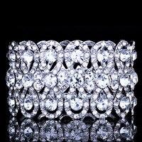 Wedding Jewelry Luxury Full Crystal Rhinestones Gold Color Bracelets For Women Bride Stretch Rope Wide Bracelets