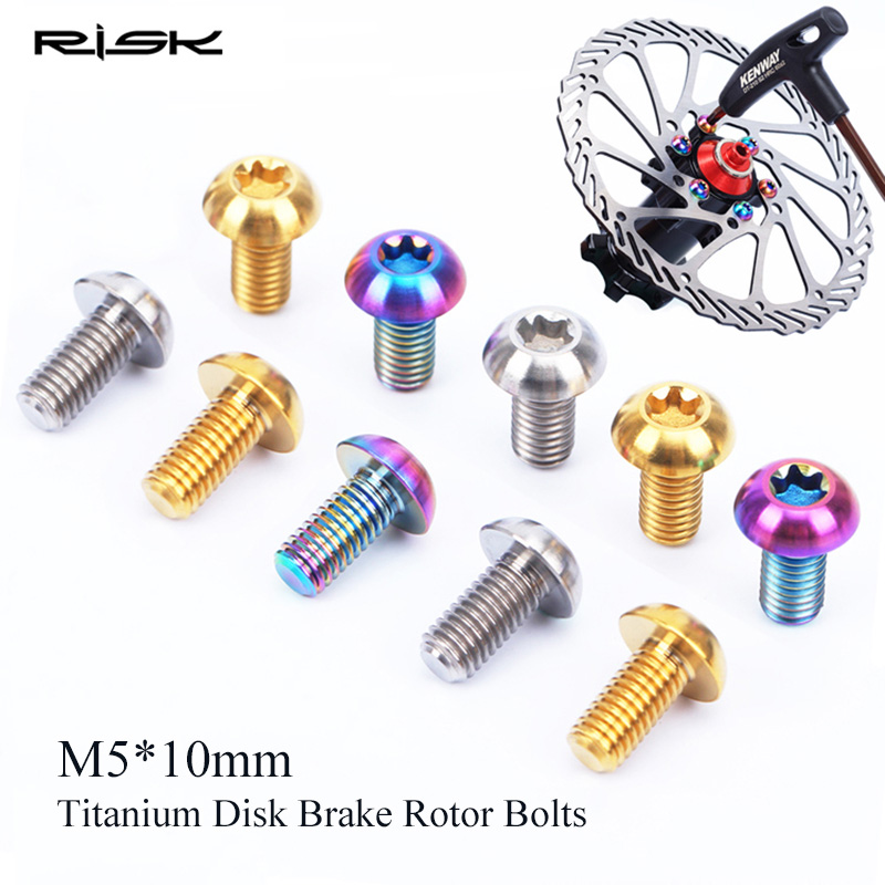 12pcs RISK Titanium Alloy Screws MTB Road XC bike Disc Brake Rotor Bolts M5*10mm