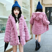 4 -14T New Girls Winter Coat Hooded Girl Child Coat Thicken Warm luxurious Faux Fur Outerwear Coat For Kids Clothes For Winter цены онлайн