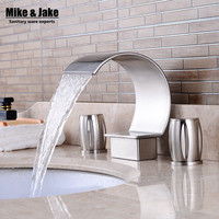 Deck three hole Double Handles Bathroom waterfall faucet Brush Finished three hole bathroom faucet Crane Sink waterfall tap