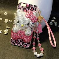 For LG G5 G6 G7 Q7 Q6 K8 K10 2017 V10 V20 V30 V40 Q Stylo 4 Cute 3D Hello Kitty full Rhinestone Case Leopard Print Diamond Cover