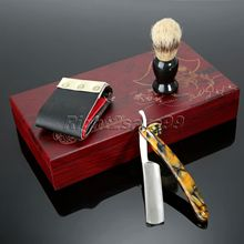 Shaving Barber Folding Knife Straight Edge Shaver Set Shaving Knife Wooden Box Canvas PU Leather Strop Shaving Brush Shave Kit