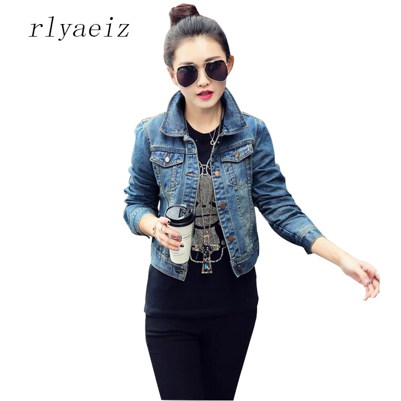 RLYAEIZ High Quality Women Denim   Jacket   2017 Spring Casual Short Jeans   Jacket   Women Coat Long Sleeve   Basic   Coat jaqueta feminina