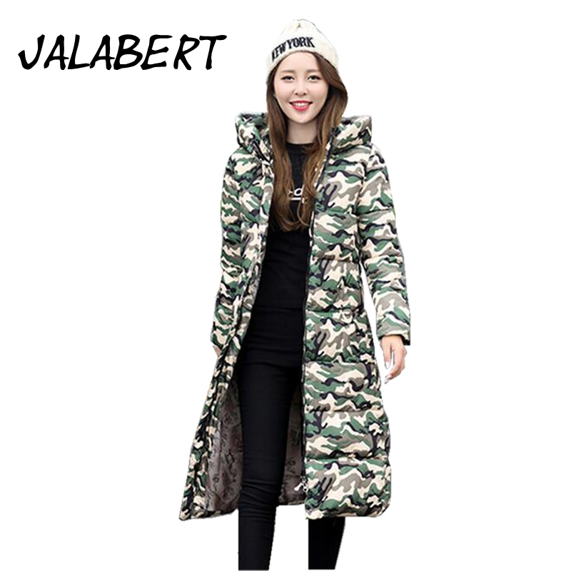 JALABERT 2017 winter new Woman s camouflage down jacket cotton long section the section cotton coat