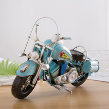 Metallic Ironwork Motorcycle Model Hand Craft Retro Motor Car Handmade Iron Motorbike Vintage Home Decor Photography Props
