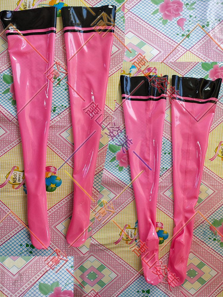 SEXY PINK LATEX THIGH HIGH STOCKINGS WITH BLACK TRIMS CUSTOMIZED