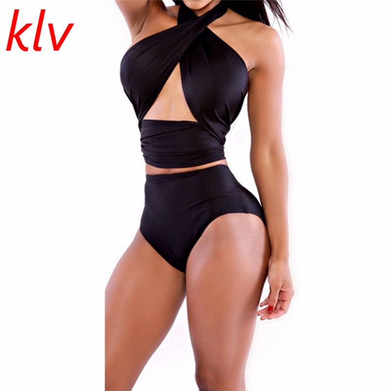 Klv Mamelucos mujeres playsuits Plain strapless push-up Halter Top bodycon backless tummy tuck Tops jumpsuit sexy bodysuit