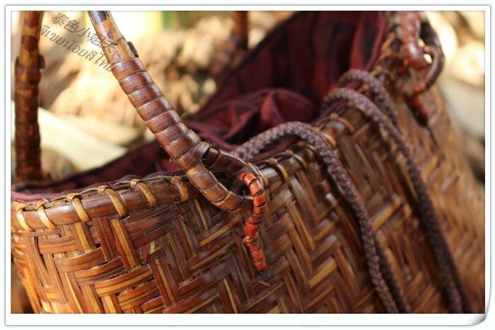 HANSOMFY   Плетеная соломенная сумка ручной работы в богемном стиле, Пляжная летняя шикарная мини бамбуковая сумка, Экологически чистая Праздни... - 4