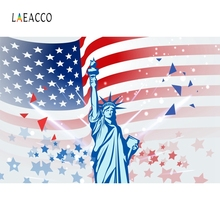 Laeacco American Flag Photography Backdrop Independence Day Photo Background Wood Floor Banner Props Studio