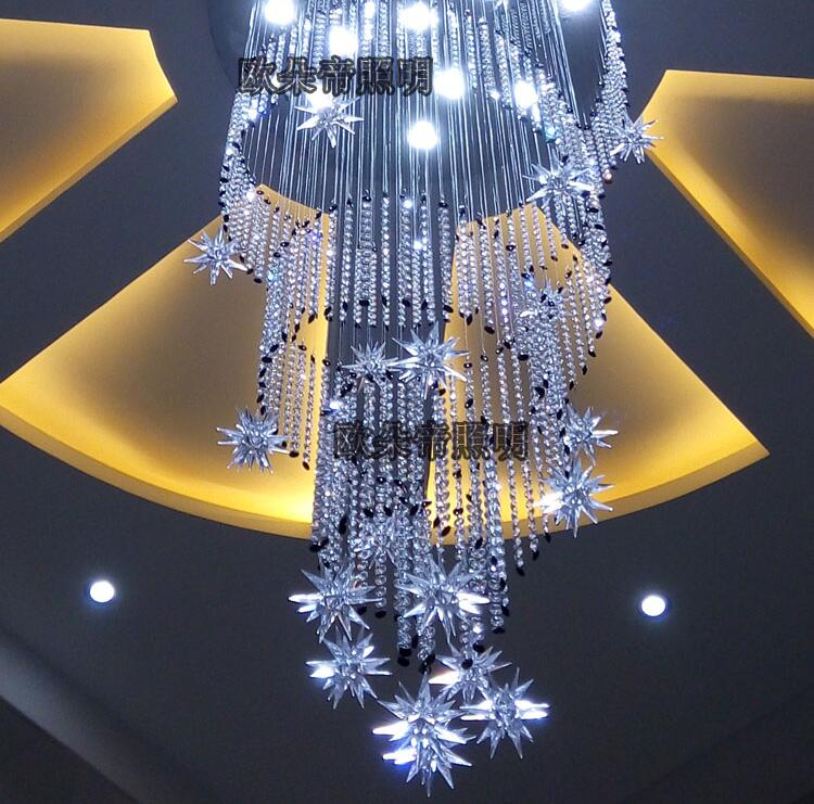 Modern crystal combination chandelier spiral long revolving staircase double living room Chandelier m