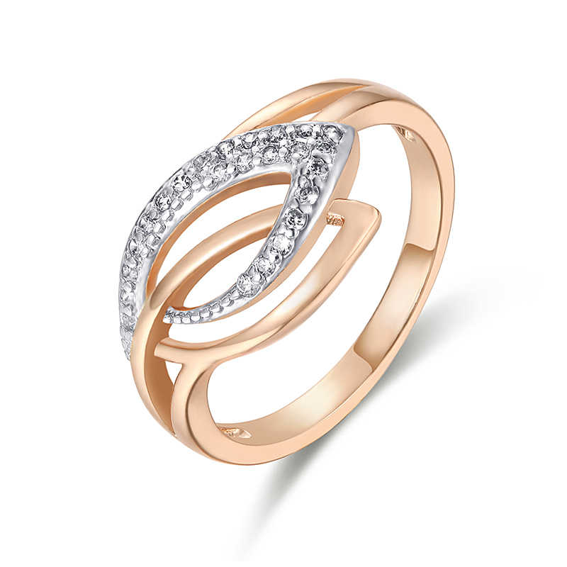 FJ Women White Leaf Shaped Cubic Zircon 585 Rose Gold Color Ring Jewelry 6-10