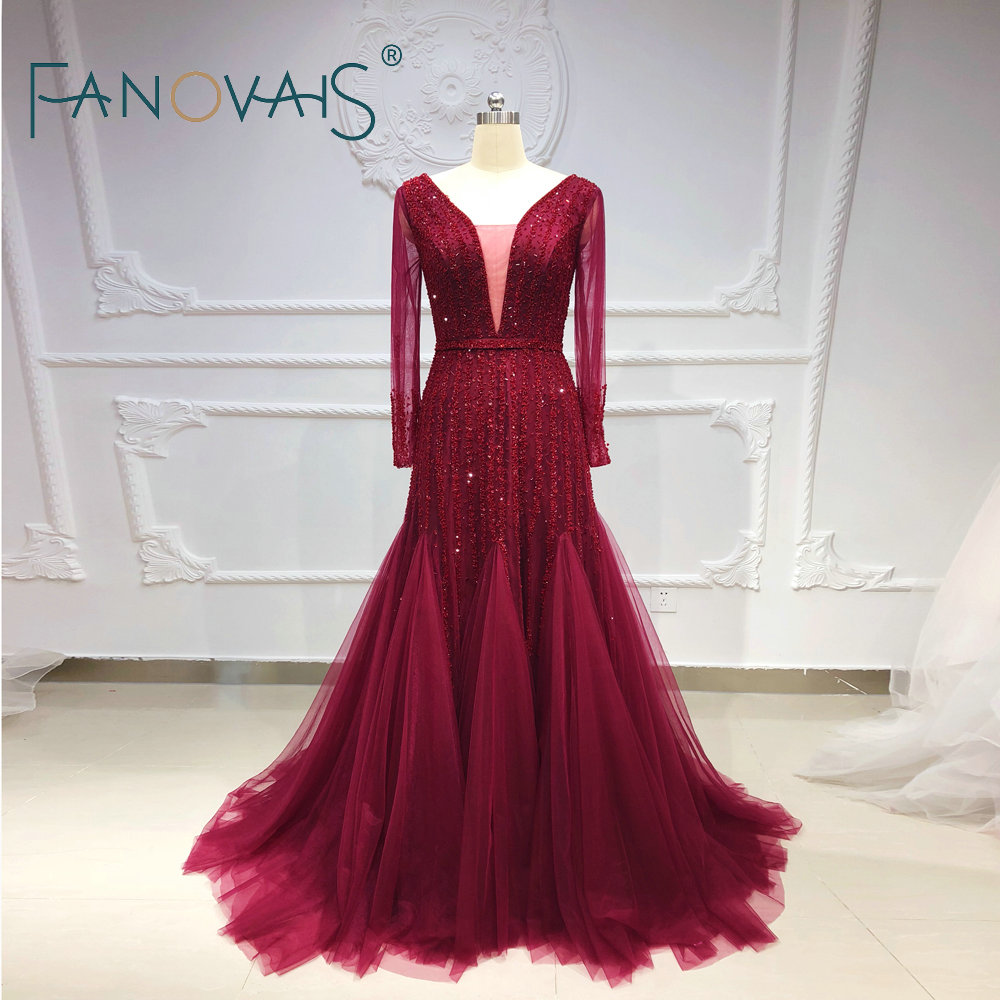 Burgundy   Evening     Dresses   2019   Evening   Gowns Long Sleeves Vestido De Fiesta Formal   Dress   Women Elegant Beads Crystals Prom   Dress