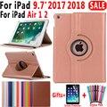 360 Stopni Obracanie inteligentne etui ze skóry Case dla Apple iPad Air 1 Powietrza 2 5 6 Nowy iPad 9.7 2017 2018 A1822 a1823 A1893 Coque Funda